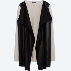 ZARA jacket with faux leather pointed front M
